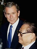 President George Bush and President Jiang Zemin