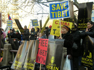 Protestors rally in honor of Tibetan Uprising Day