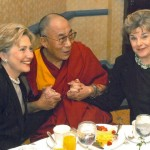 His Holiness the Dalai Lama with US Senators Hillary Clinton and Dianne Feinstein [The Willard Hotel, Washington, DC, May 2001]