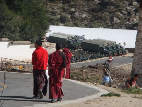 Armed troops gather at Drepung