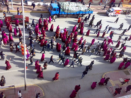 Protests near Labrang Monastery