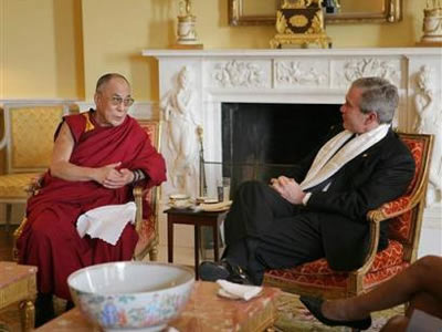 His Holiness the Dalai Lama and President George W. Bush