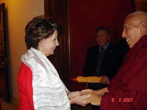 Samdhong Rinpoche and Nancy Pelosi.