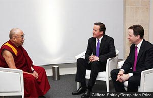 The Dalai Lama meeting David Cameron