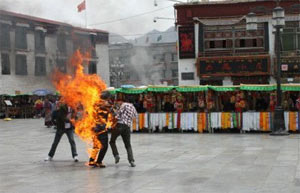 An image reportedly of Sunday's self-immolation