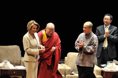 The Dalai Lama with Speaker Pelosi and Wang Lixiong