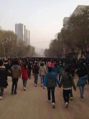 Schoolchildren and students demonstrated on November 9, 2012 in Rebkong