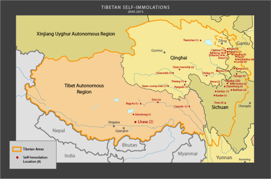 Tibet map self-immolations