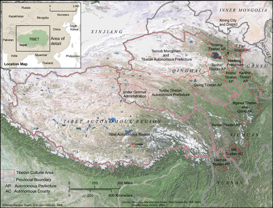 Tibet satellite map 550
