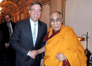 His Holiness the Dalai Lama with Senator Mark Warner