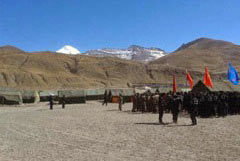 Troops gather near Mt Kailash last month.