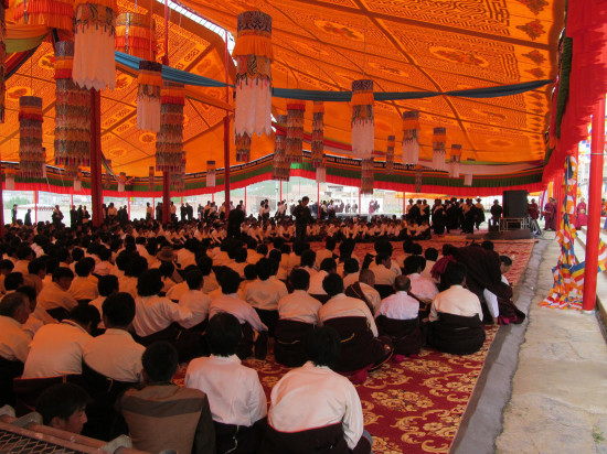 Tibetans gather under the tent in Tsoe monastery the week before the Kalachakra teachings.