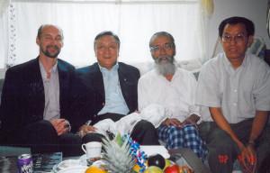 John Ackerly, Lodi Gyari and Bhuchung Tsering with newly released political prisoner Takna Jigme
