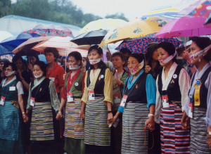 Tibetan women demonstrate