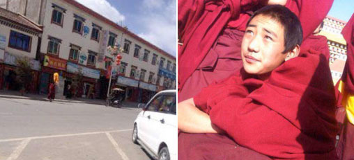 Eighteen-year old Kirti monk Gendun Phuntsok carrying out a solo protest in Ngaba on March 8. The image shows him carrying a portrait of the Dalai Lama wrapped in a yellow blessing scarf. Gendun Phuntsok had been a monk at Kirti since an early age.