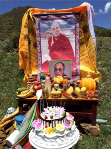 A shrine set up to wish the Dalai Lama a happy birthday and long life in eastern Tibet.
