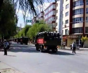 Another view of troops moving through Rebkong on July 27 (2015).