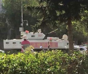 Among the convoy in Rebkong was this white military vehicle.