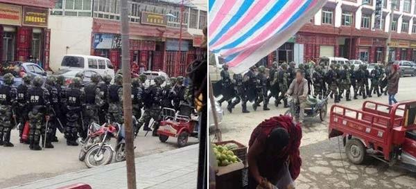 Troops on the streets of Ngaba