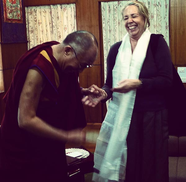 Melissa Mathison with His Holiness the Dalai Lama