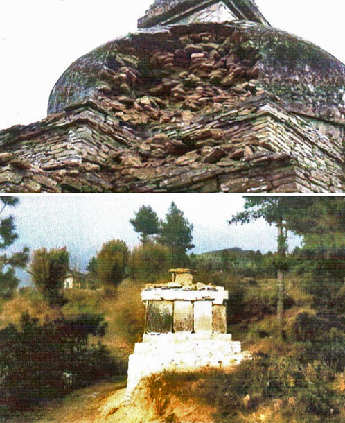 Chorten before and after the construction.