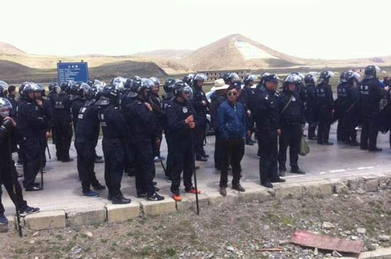 Armed police in riot gear at the protest on May 4.