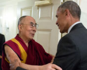 Barack Obama greets His Holiness the Dalai Lama