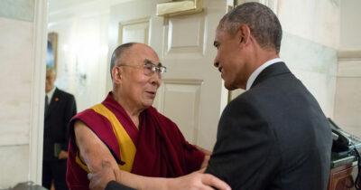 Barack Obama greets His Holiness the Dalai Lama