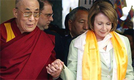 His Holiness the Dalai Lama and Democratic Leader Nancy Pelosi.