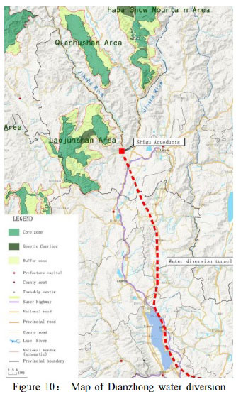 Map of the diversion of the Drichu