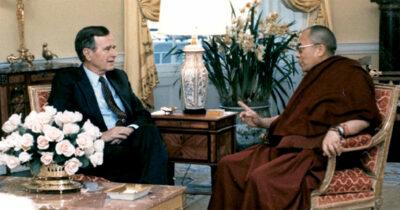 George Bush and Dalai Lama