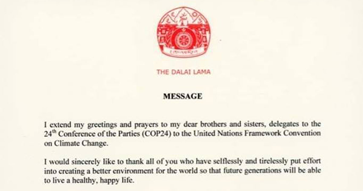Dalai Lama's message to global climate summit shows need for