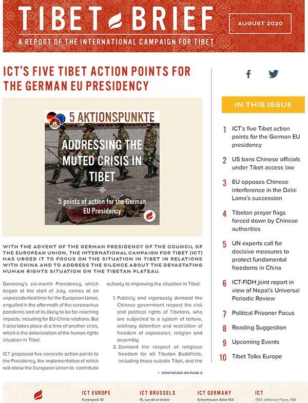 tibet brief august 2020