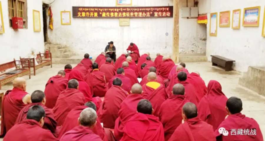 A cadre instructing monks