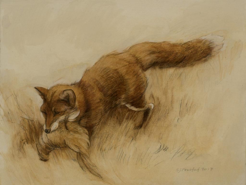 "Slink, 2017. Graphite & oil on art board, 6x8"". Sold"