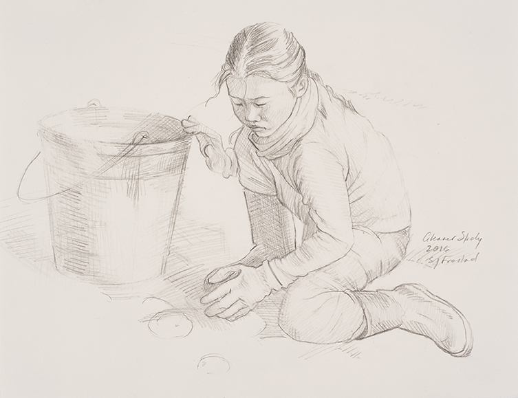 """Gleaner Study, 2016. Graphite on paper, 9x12"""". Sold"""