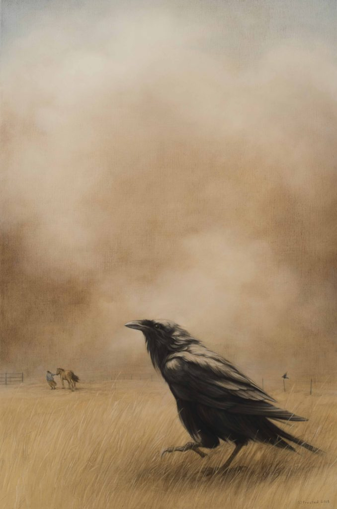 "Dust Storm, 2018. Graphite & oil on wood panel, 30x20"". Sold"