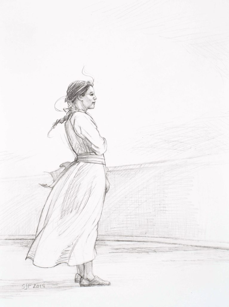 """A Foreign Shore Study, 2018. Graphite on paper, 7x5"""" Sold"""