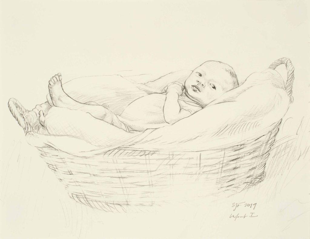 "Infant I, 2019. Graphite on paper, 8.5x11"" 50."