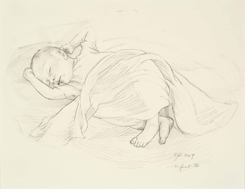 """Infant II, 2019. Graphite on paper, 8.5x11"""" 50."""