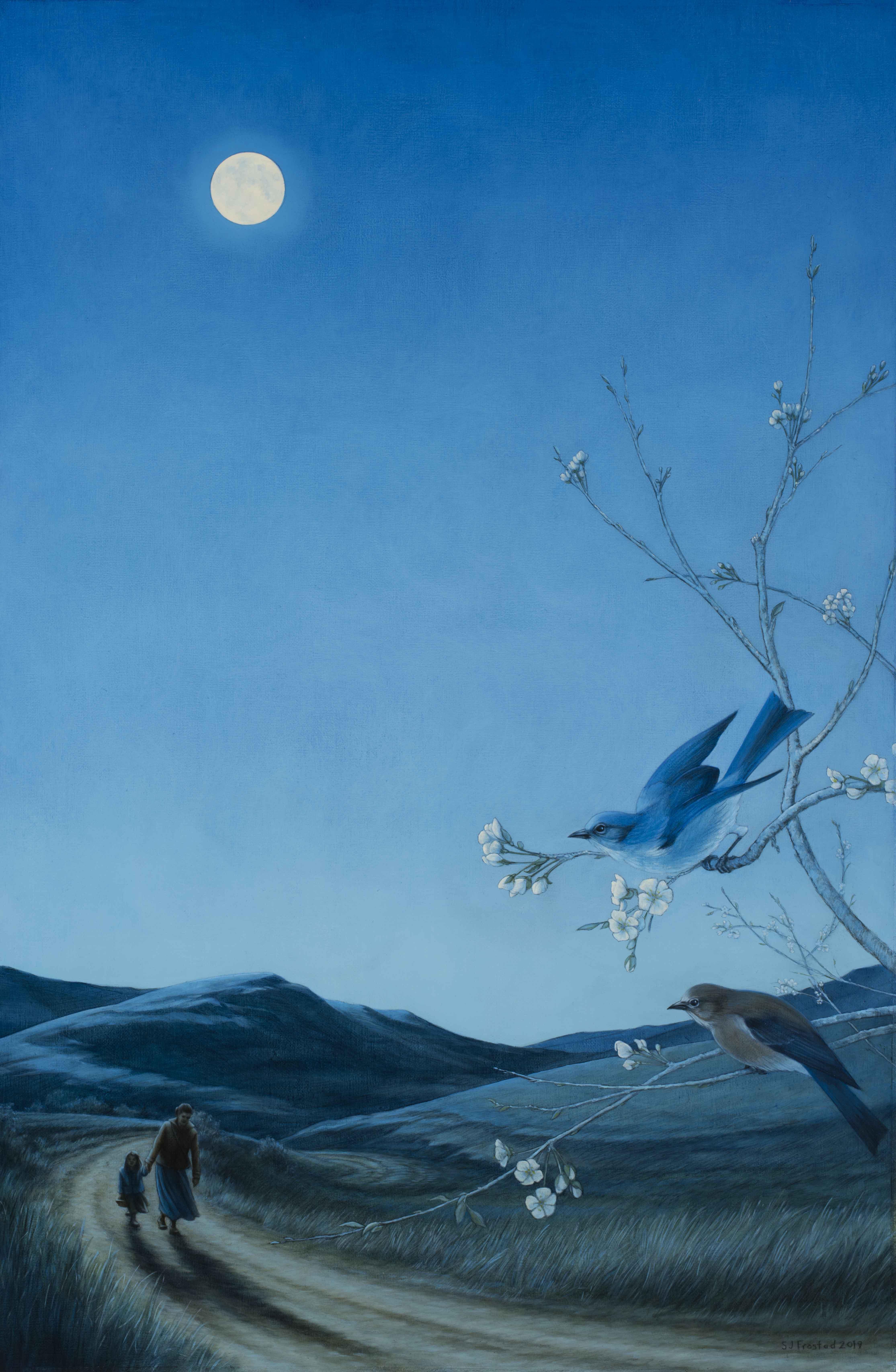 "Night Flight, 2019. Graphite & oil on canvas panel, 30x20"" At The Art Spirit Gallery"