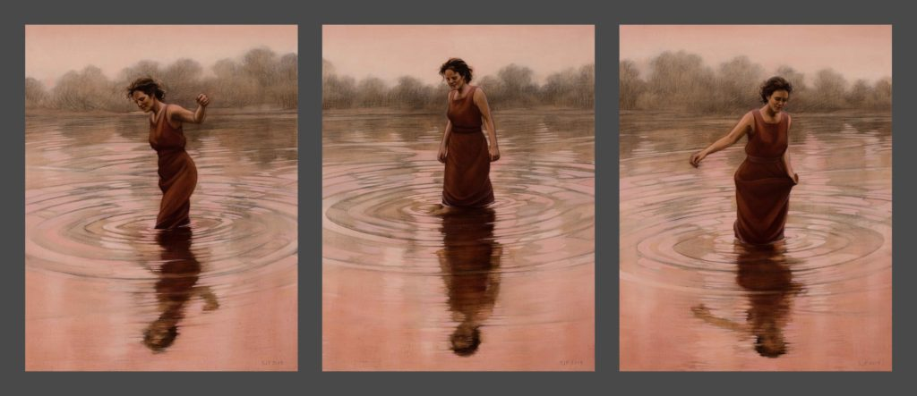 "Three Graces, 2019. Triptych: each, graphite & oil on wood panels 14x11"" Sold"