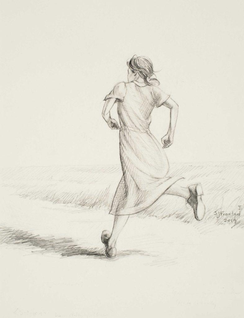 "Run II, 2019. Graphite on paper, 10x8"" Sold"