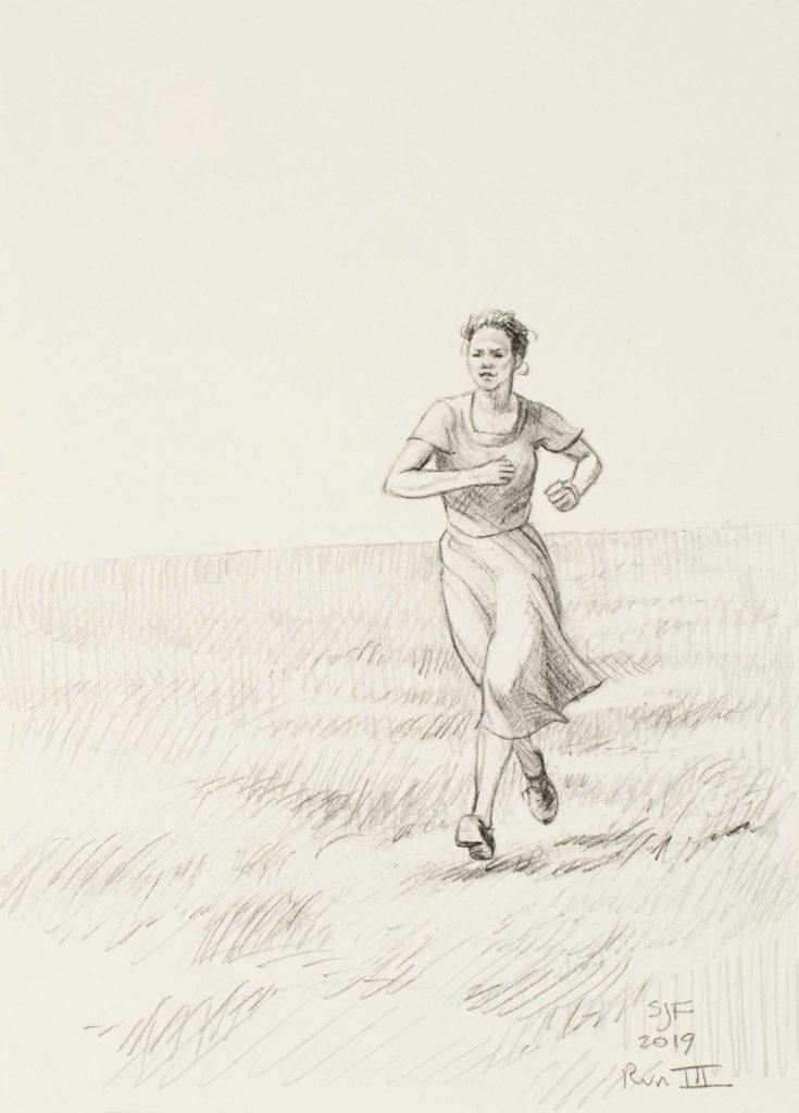"Run III, 2019. Graphite on paper, 7x5"" 30."