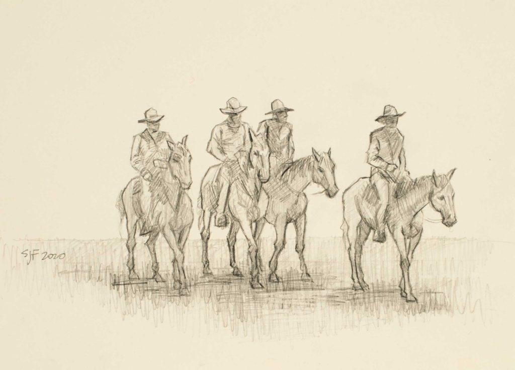"Four Horsemen, 2020. Graphite on paper, 5x7"" Sold"