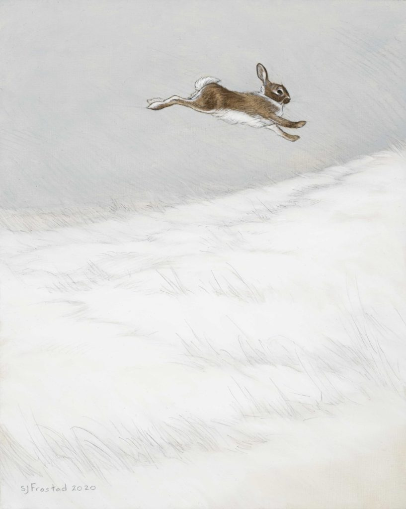 """Leaper, 2020. Graphite & oil on wood panel, 10x8"""" Sold"""