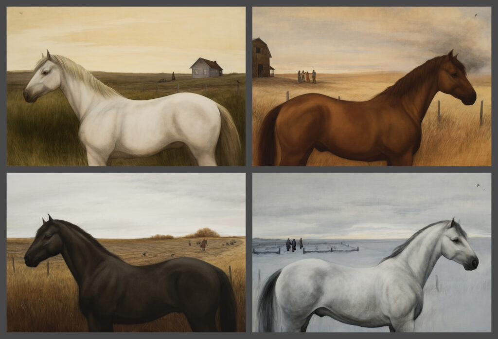 "Four Horses Quartet, 2018. Graphite & oil on wood panels, each 24x36"", 50 x74"" overall. 10,000."