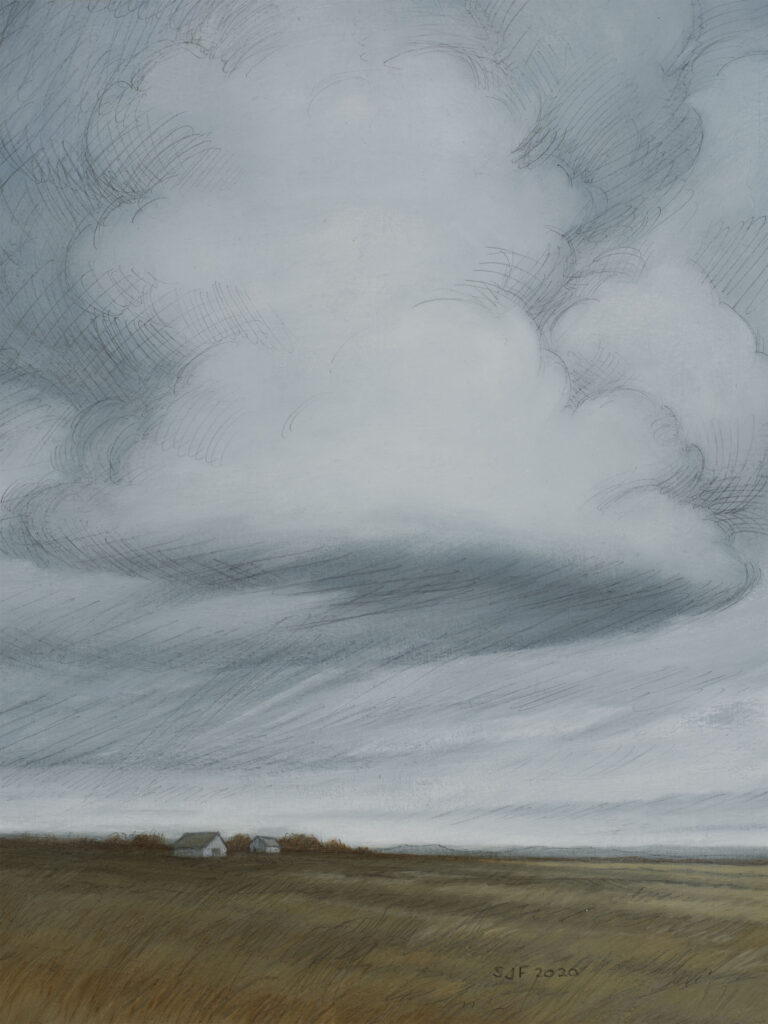 """Shelter in Place III, 2020. Graphite & oil on paper, 12x9"""" Sold"""