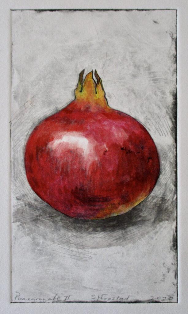 """Pomegranate II, 2020. Monoprint 6.5x3.5"""" 40. Matted"""