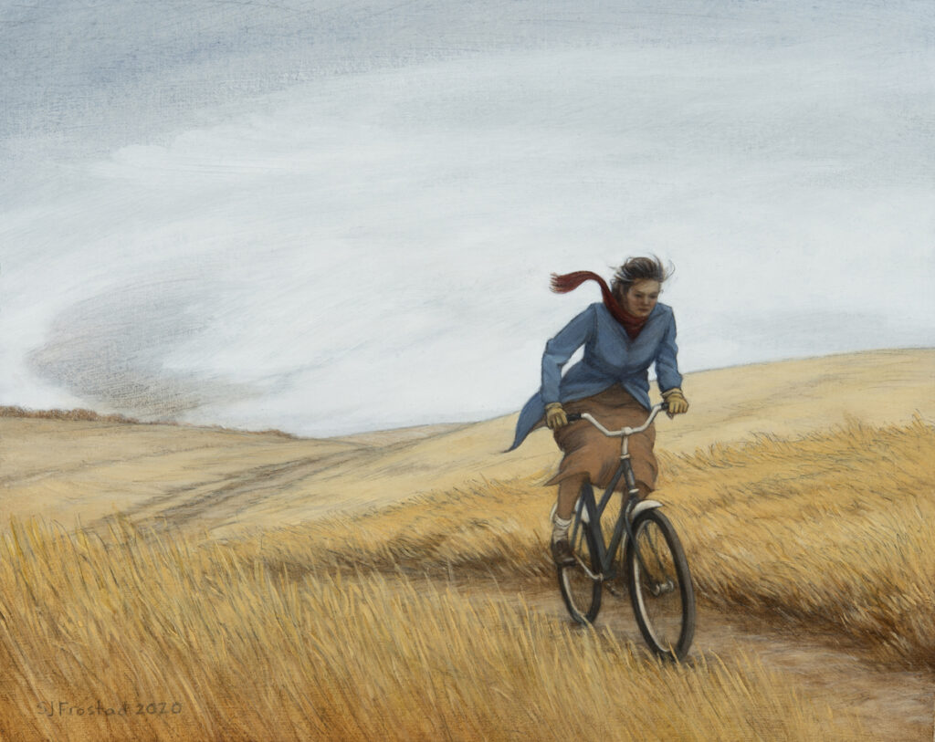 "Bicycle Messenger, 2020. Graphite & oil on art board, 8x10"" 400."